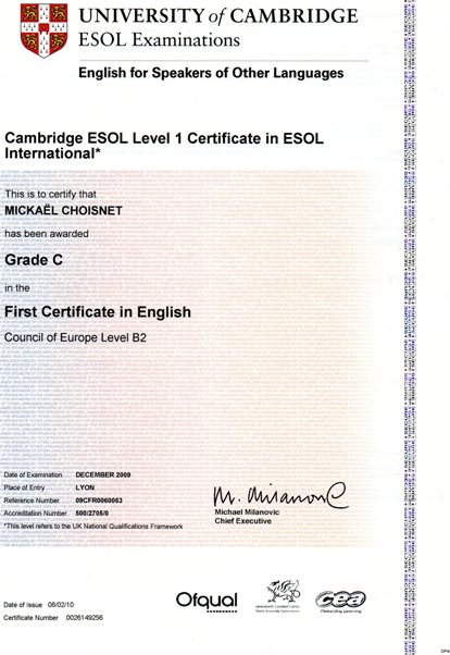 First Certificate in English